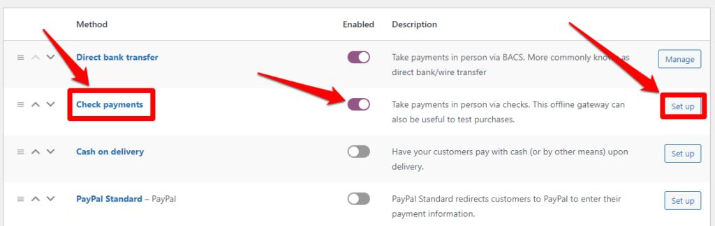 الدفع عن طريق صك بنكي Check Payments