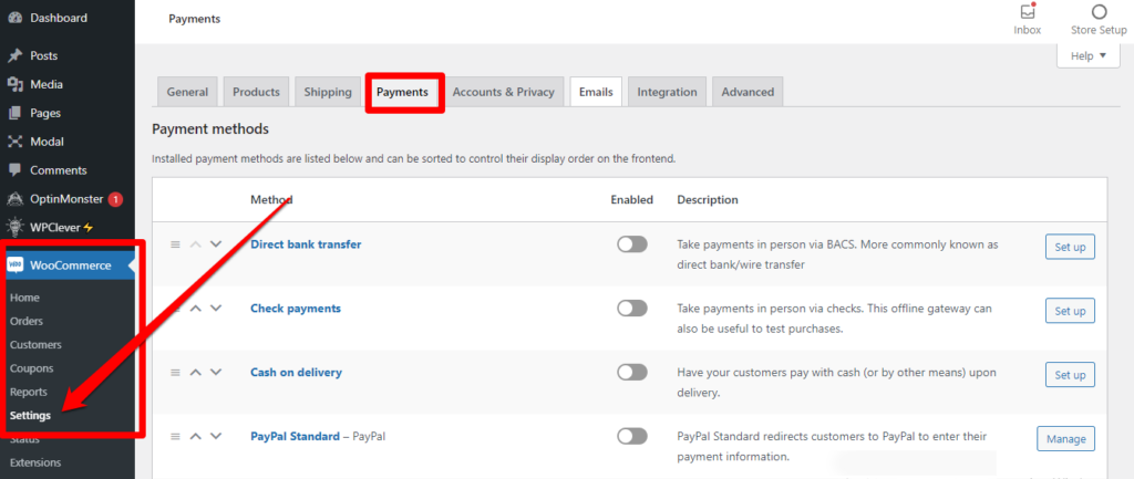 كيفية تفعيل بوابات الدفع على منصة ووكومرس