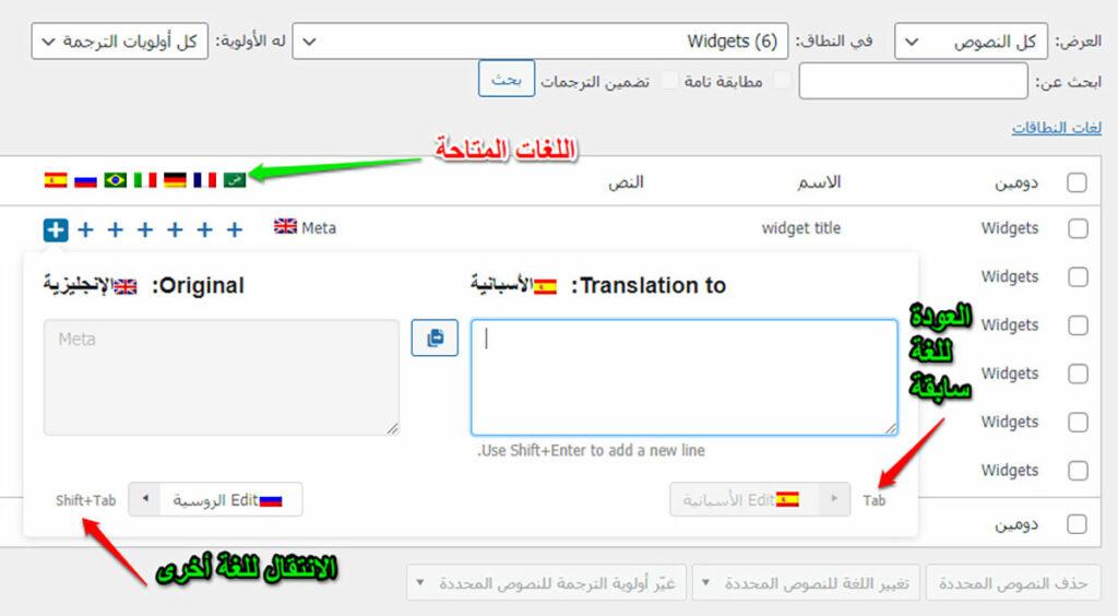 بين اللغات بواسطة إضافة WPML String Translation