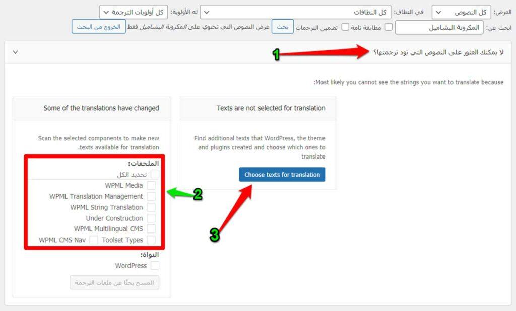 المتقدم عن الكلمات الغير موجودة في البحث العادي في إضافة WPML String Translation
