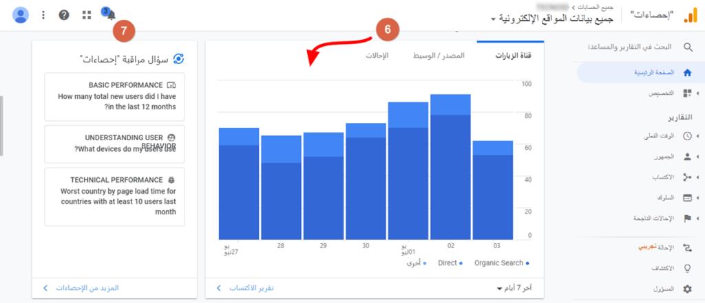 تحليلات جوجل مصادر الزيارات ومراقبة الاحصاءات