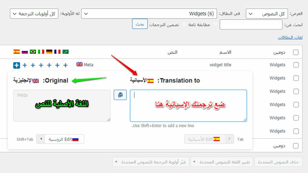 نصوص بواسطة إضافة WPML String Translation